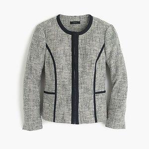J.Crew Collarless Contrast Jacket in Tweed sz 2